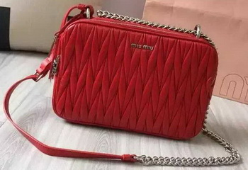 miu miu Matelasse Nappa Leather Shoulder Bag 5BH032 Red