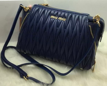 miu miu Matelasse Nappa Leather Shoulder Bag RN9110 Blue