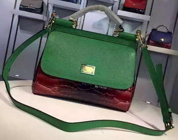 Dolce & Gabbana SICILY Calfskin Tote Bag BB4136 Green&Red