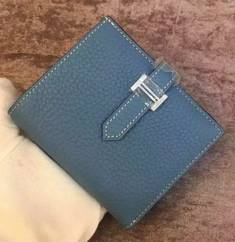 Hermes Bi-Fold Wallet Togo Leather H512 Blue