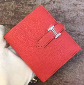 Hermes Bi-Fold Wallet Togo Leather H512 Light Red
