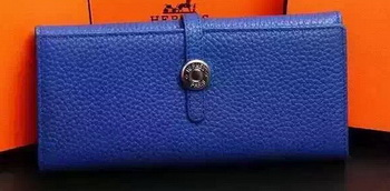 Hermes Dogon Original Leather Wallet H509 Blue