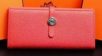 Hermes Dogon Original Leather Wallet H509 Light Red
