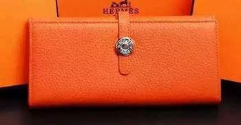 Hermes Dogon Original Leather Wallet H509 Orange