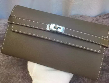 Hermes Kelly Wallet Epsom Leather H009 Grey