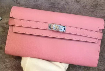Hermes Kelly Wallet Epsom Leather H009 Pink