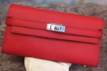 Hermes Kelly Wallet Epsom Leather H009 Red