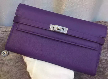 Hermes Kelly Wallet Epsom Leather H009 Violet