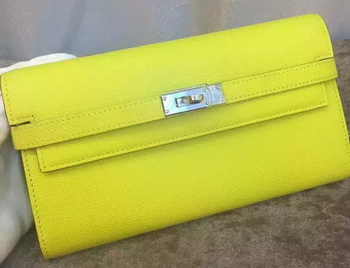 Hermes Kelly Wallet Epsom Leather H009 Yellow