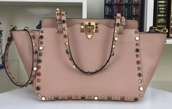 Valentino Rockstud Double Handle Bag Original Leather 1916C Pink