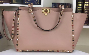 Valentino Rockstud Double Handle Bag Original Leather 1917C Pink