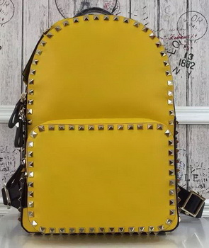 Valentino Garavani Rockstud Backpack Original Leather VO19612 Yellow&Black