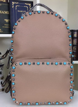 Valentino Garavani Rockstud Backpack Original Litchi Leather VO19612B APricot