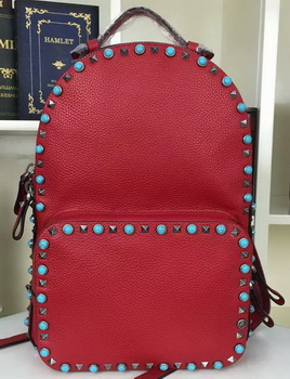 Valentino Garavani Rockstud Backpack Original Litchi Leather VO19612B Red