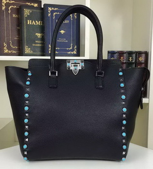 Valentino Garavani Rockstud Double Handle Bag VO1912B Black