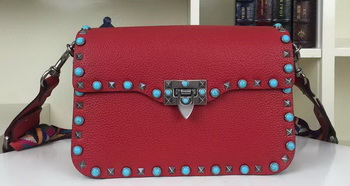 Valentino Garavani Rockstud Shoulder Bag Calfskin VO84491 Red