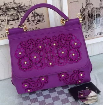 Dolce & Gabbana SICILY Lace Tote Bag BB4136 Purple