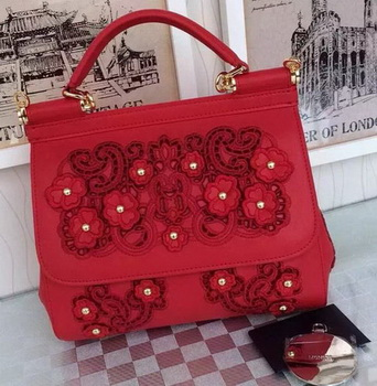 Dolce & Gabbana SICILY Lace Tote Bag BB4136 Red