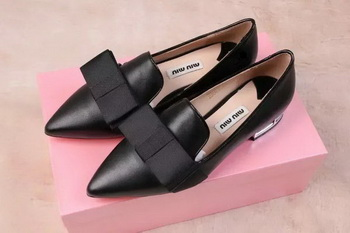 miu miu Leather Flat MM442 Black