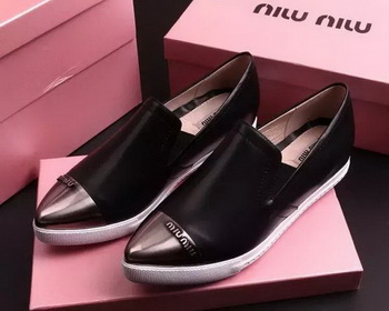 miu miu Leather Flat MM443 Black