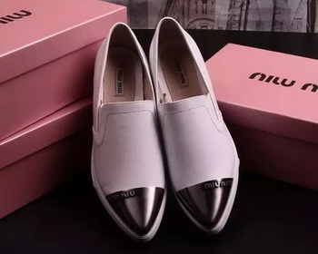 miu miu Leather Flat MM443 White