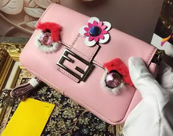 Fendi Baguette Bag Sheepskin Leather F6614 Pink