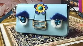 Fendi Baguette Bag Sheepskin Leather F6614 SkyBlue
