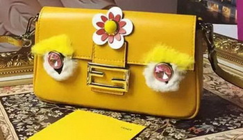 Fendi Baguette Bag Sheepskin Leather F6614 Yellow