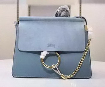 CHLOE Faye Shoulder Bag Suede Leather C1626 Blue