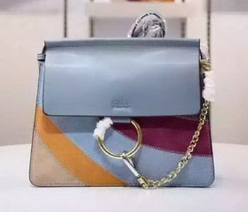 CHLOE Faye Shoulder Bag Suede Leather C1627 Blue
