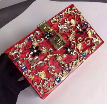 Dolce & Gabbana DOLCE BOX BAG IN VELVET WITH CRYSTALS Red