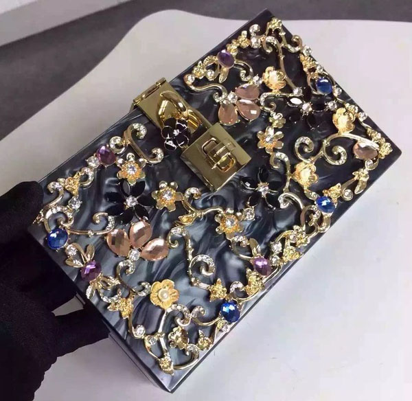 c7a416c87e Dolce   Gabbana DOLCE BOX BAG IN VELVET WITH CRYSTALS Black -  219.00