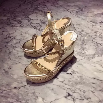 Christian Louboutin Sheepskin Leather Wedge Sandals CL1569 Gold