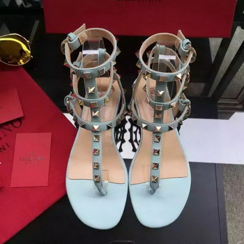 Valentino Leather Sandal VT843 Light Blue