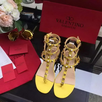 Valentino Leather Sandal VT843 Yellow
