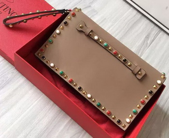 Valentino Garavani Rockstud Clutch Original Leather VO3369 Apricot
