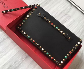 Valentino Garavani Rockstud Clutch Original Leather VO3369 Black