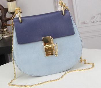 CHLOE Drew Small Shoulder Bag Goat Leather C83031 Royal&SkyBlue