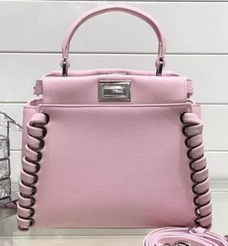 Fendi Fashion Show mini Peekaboo Bags Original Leather FD0702 Pink