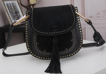 CHLOE Hudson Tassel Shoulder Bag Calfskin Leather 86015L Black