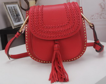 CHLOE Hudson Tassel Shoulder Bag Calfskin Leather 86015L Red