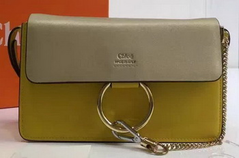 CHLOE Faye Shoulder Bag Calfskin Leather C2259 Grey&Yellow