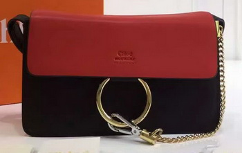 CHLOE Faye Shoulder Bag Calfskin Leather C2259 Red&Black