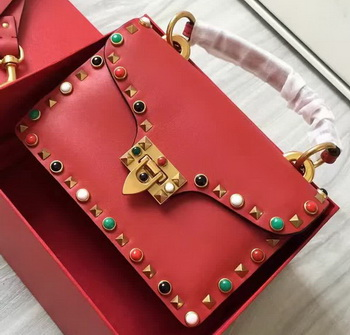 Valentino Garavani Rockstud Shoulder Bag Calfskin VO00371 Red