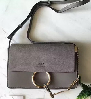 CHLOE Faye Shoulder Bag Suede Leather C3379 Grey