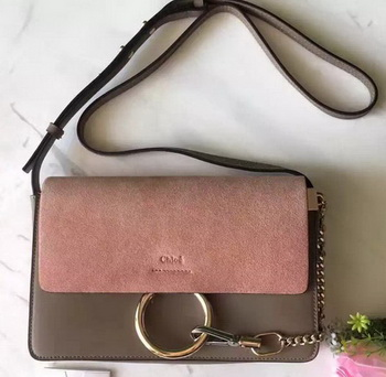 CHLOE Faye Shoulder Bag Suede Leather C3379 Pink&Grey
