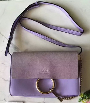 CHLOE Faye Shoulder Bag Suede Leather C3379 Purple