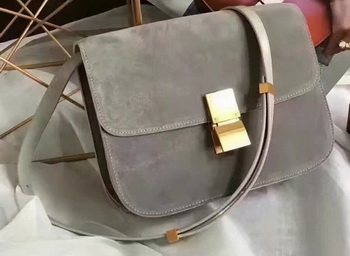 Celine Classic Box Flap Bag Suede Leather C20445 Grey