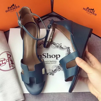 Hermes Leather 70mm Sandal H0741 Blue