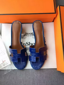 Hermes Leather Slipper HO742 Blue